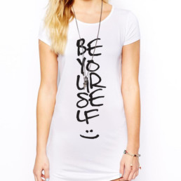 Be Yourself White T-Shirt/Dress
