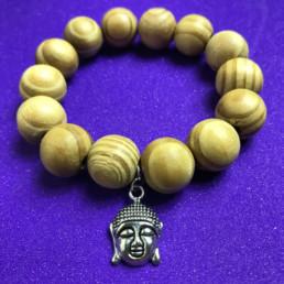 Wooden Buddha Head in Silver Bracelet