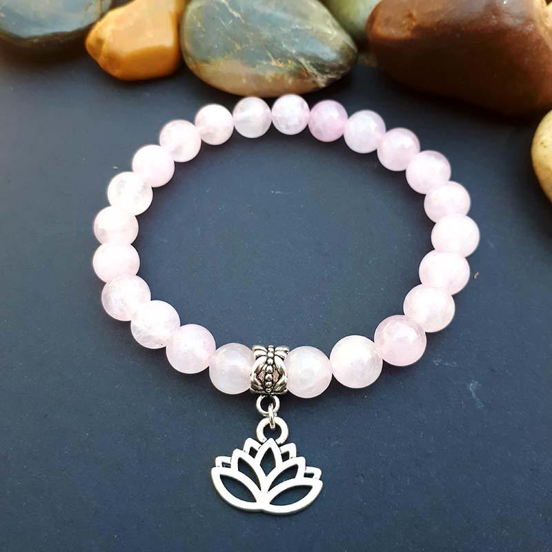 Lotus & Rose Quartz Bracelet