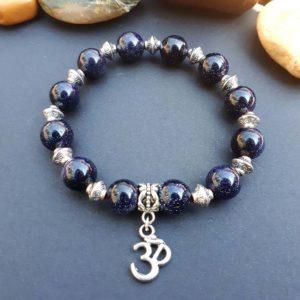 Om & Blue Goldstone Bracelet