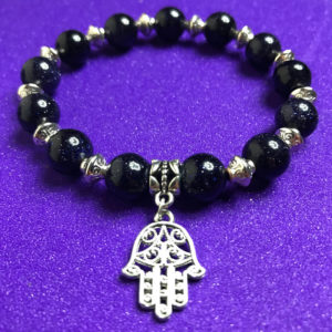 Hamsa and Blue Goldstone Bracelet - NIA 9