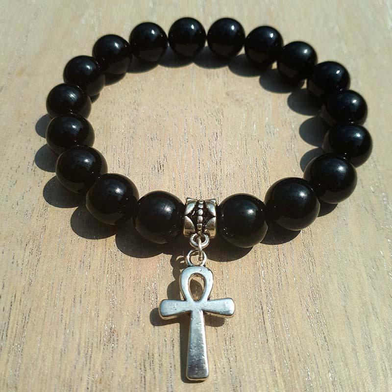 Ankh & Onyx Bracelet