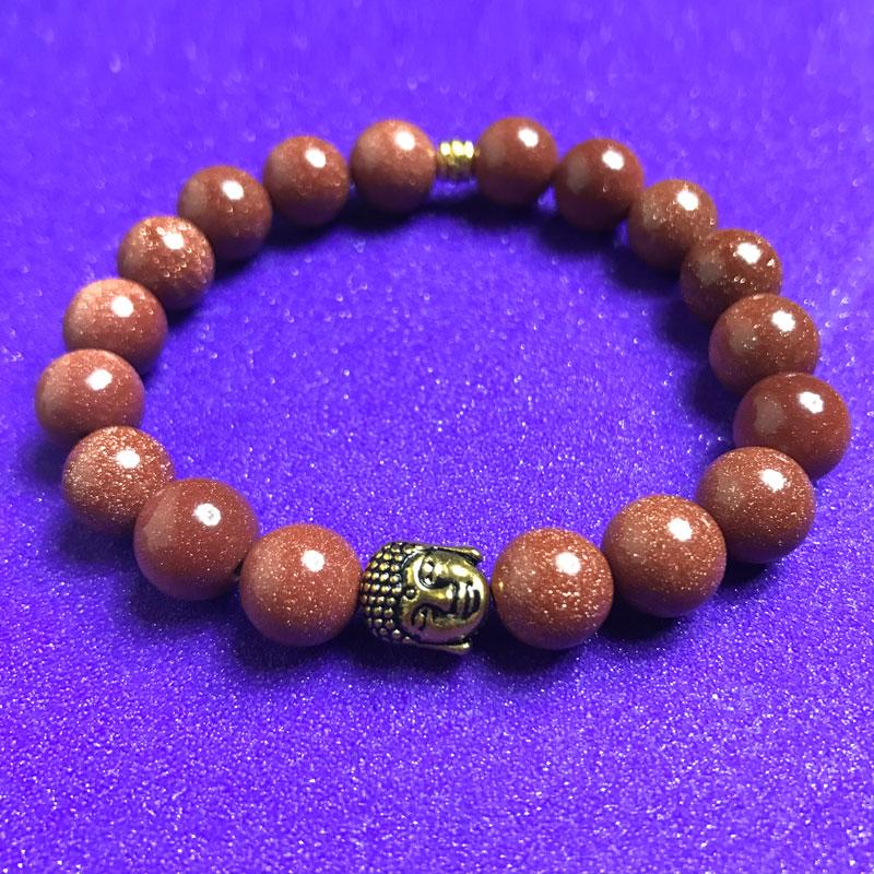 Buddha and Gold Goldstone Bracelet - NIA 9