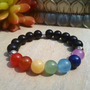 7 Chakra & Onyx Bracelet