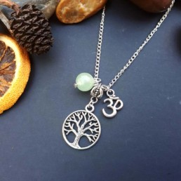 Tree of Life, Om & Aventurine Necklace