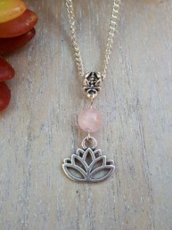 Lotus Flower & Rose Quartz Necklace