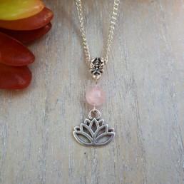 Lotus Flower & Rose Quartz Necklace