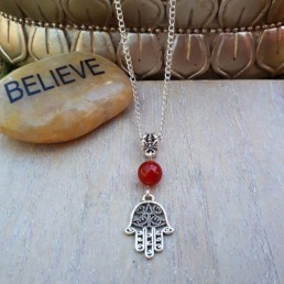 Hamsa & Red Jade Necklace