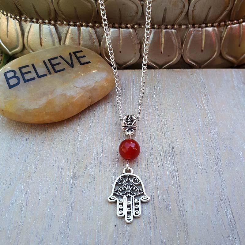 Hamsa & Red Jade Necklace
