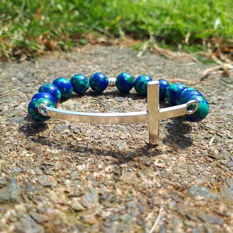 Cross & Lapis Malachite Bracelet
