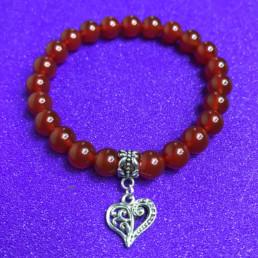 Carnelian and Heart Bracelet - NIA 9