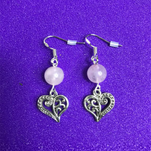 Rose Quartz and Heart Earrings - NIA 9