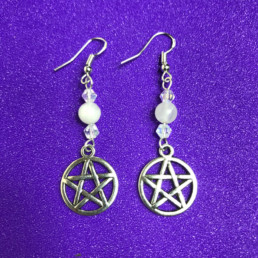 Rose Quartz and Swarovski Crystal Pentagram Earrings - NIA 9