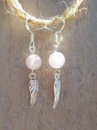Rose Quartz and Wings Earrings - NIA 9