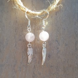 Rose Quartz and Wings Earrings - NIA 9