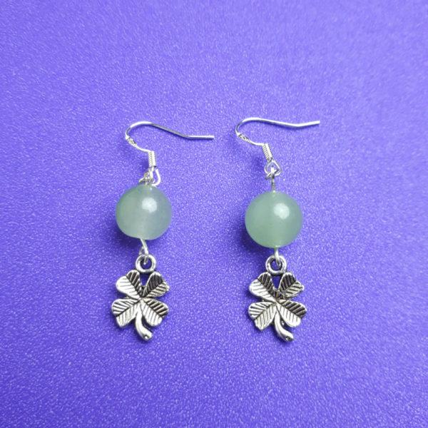 Aventurine and Four Leaf Clover Earrings - Nia 9