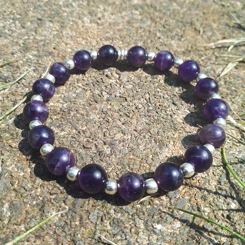 Amethyst & Silver Beads Bracelet