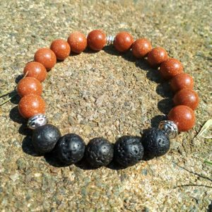 Goldstone and Lava Beads Bracelet
