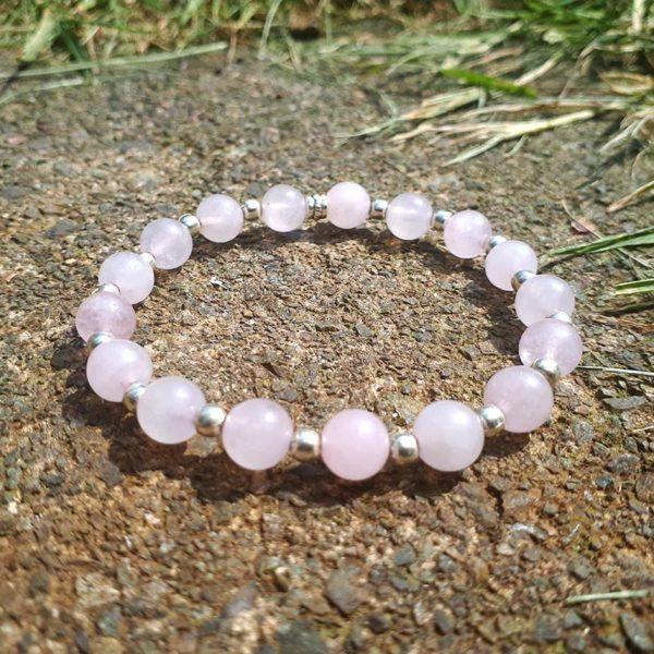 Rose Quartz & Silver Beads Bracelet