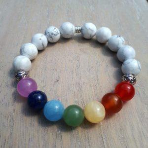7 Chakra & Howlite Bracelet