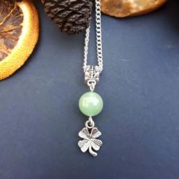Aventurine & Four Leaf Clover Necklace