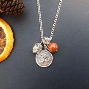 Om, Buddha & Goldstone Necklace