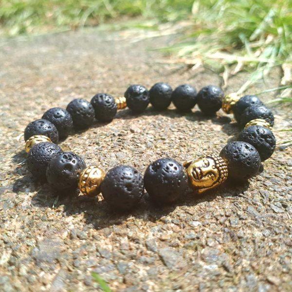 Buddha and Lava Beads Bracelet
