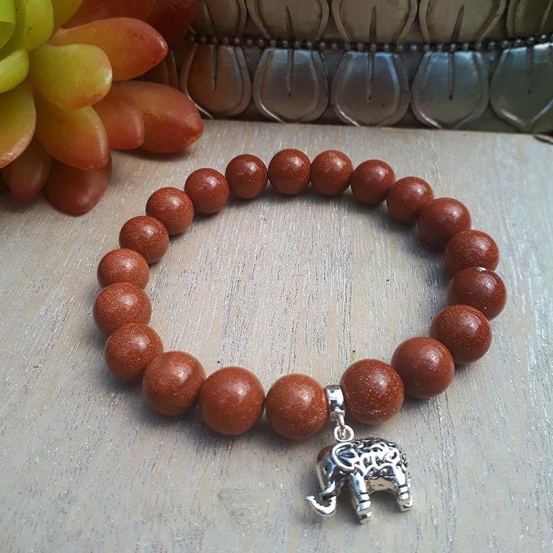 Sterling Silver Elephant and Gold Goldstone Bracelet