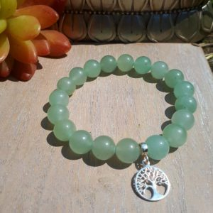 Sterling Silver Tree of Life and Aventurine Bracelet