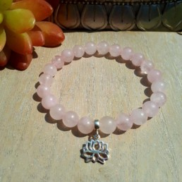 Sterling silver lotus and rose quartz bracelet