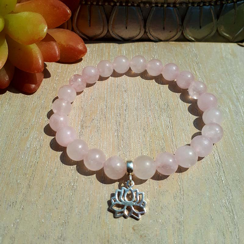 3b57fd9a9c9 Sterling Silver Lotus and Rose Quartz Bracelet - NIA9 Jewellery