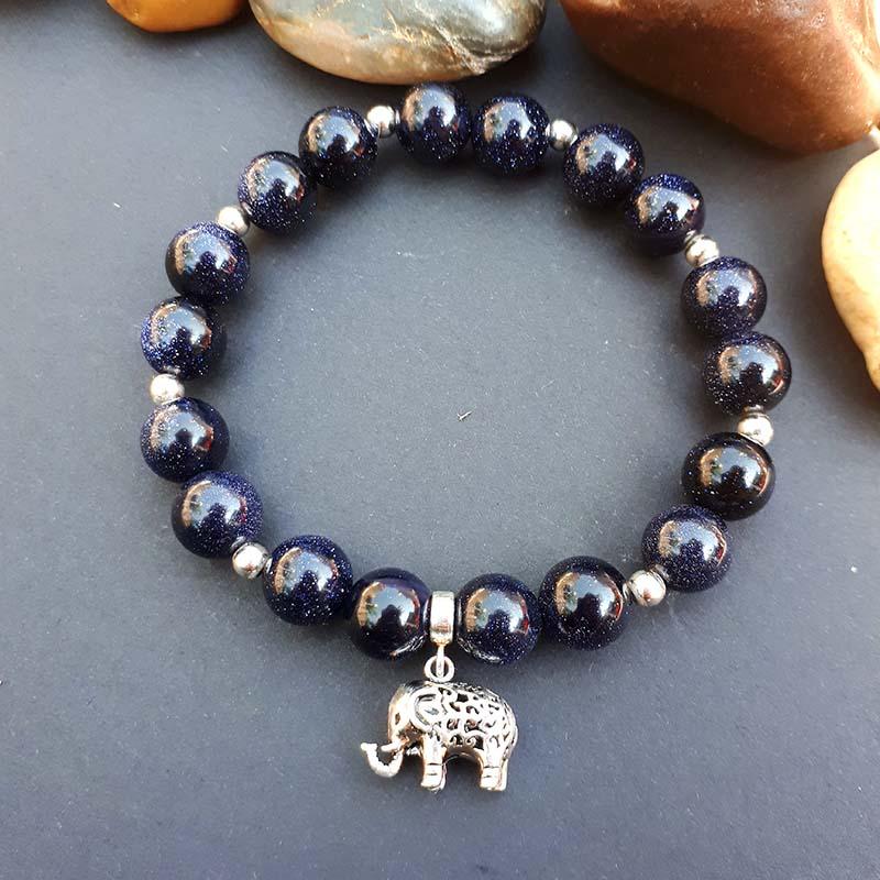 Sterling Silver Elephant and Blue Goldstone Bracelet