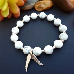 Sterling Silver Angel Wings and Howlite Bracelet