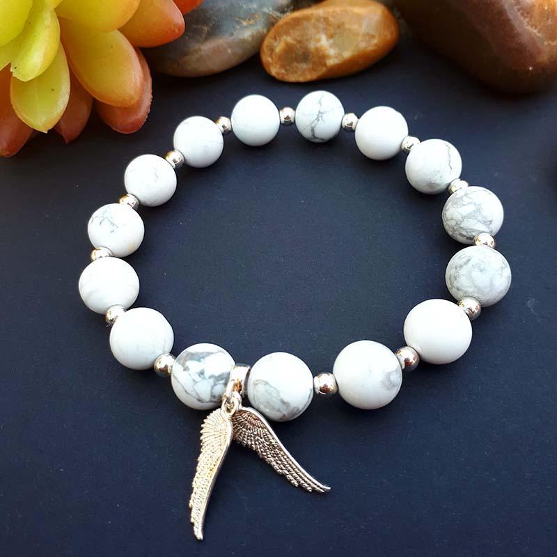 Sterling Silver Angel Wings and Howlite Bracelet