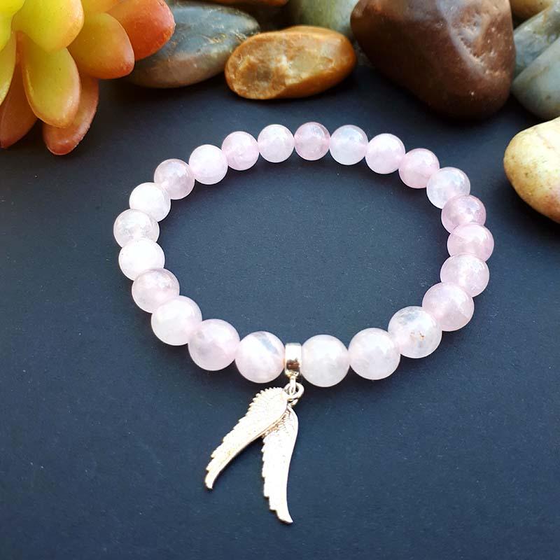 Sterling Silver Angel Wings and Rose Quartz Bracelet