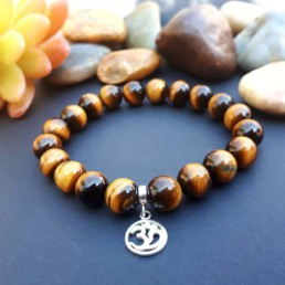 Sterling Silver Om and Tiger Eye Bracelet