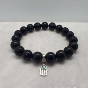 Sterling Silver Hamsa Hand and Onyx Bracelet