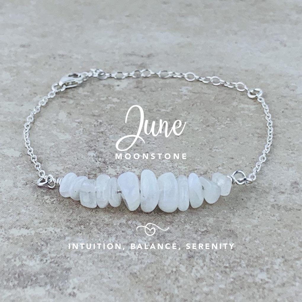 June Birthstone Bracelet, Moonstone