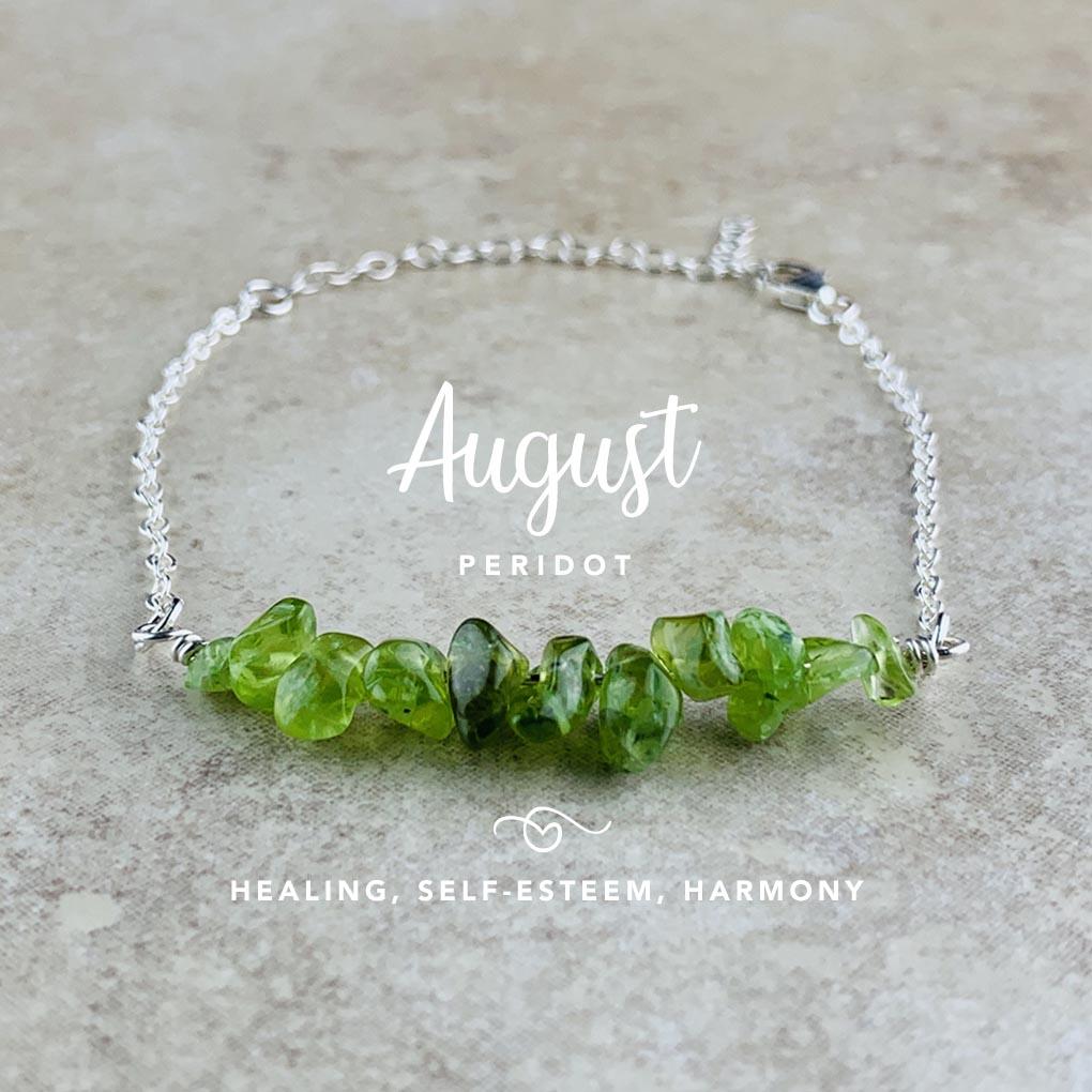 August Birthstone Bracelet, Peridot