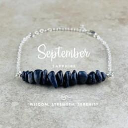 September Birthstone Bracelet, Sapphire