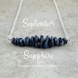 September Birthstone Necklace, Sapphire