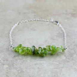 August Birthstone Bracelet, Peridot - Silver