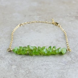 August Birthstone Bracelet, Peridot - Gold