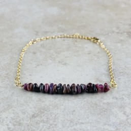 July Birthstone Bracelet, Ruby - Gold