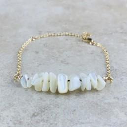 June Birthstone Bracelet, Pearl - Gold