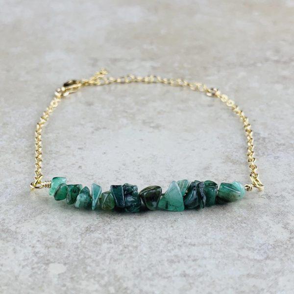 May Birthstone Bracelet, Emerald - Gold