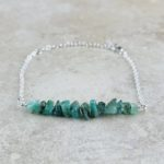 May Birthstone Bracelet, Emerald - Silver