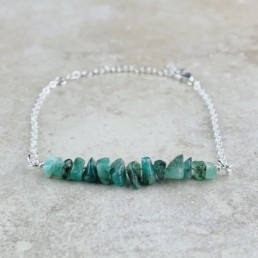 May Birthstone Bracelet, Emerald - Silver