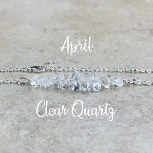 April Birthstone Bracelet, Clear Quartz