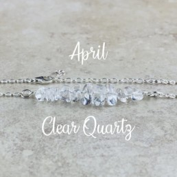 April Birthstone Bracelet, Clear Quartz
